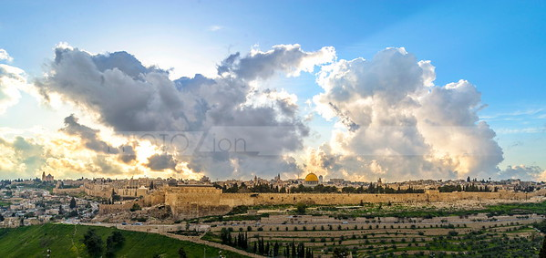 Jerusalem on a cloudy day, view from the Mount of Olives