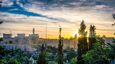 Sun rising over Jerusalem, view the Mitchell Park gardens