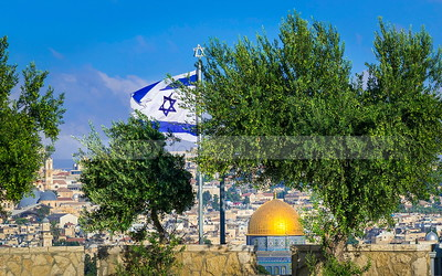 Jerusalem view with olive trees and Israeli flag