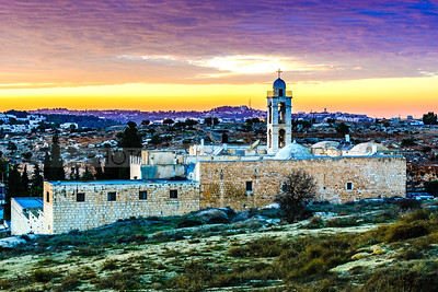 Mar Elias (Elijah) Monastery at sunset, Jerusalem