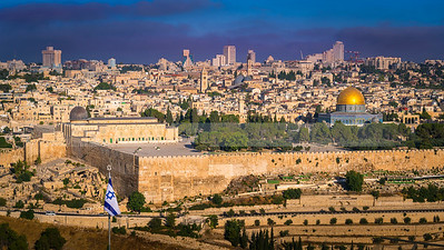 Jerusalem morning with a flag of Israel