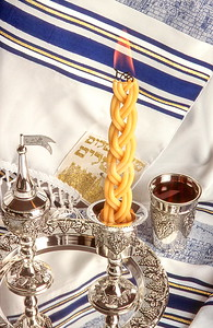 Havdala candle, wine and spices for the end of Shabbat ritual - Jewish traditions