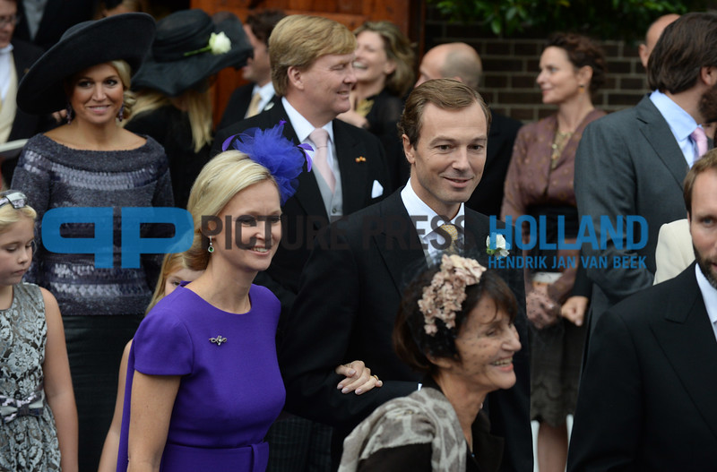 Prince Jaime de Bournbon de Parme and Viktoria Cservanyak married today at the Lieve Vrouwe ten Hemelopneming church in Apeldoorn. The ceremony was attended by the Dutch royal family and many others. Prince Jaime is the son of princess Irene and prince Hugo Carlos de Bourbon de Parme. Victoria is also known as Victoria Delano. ANP COPYRIGHT HENDRIK JAN VAN BEEK