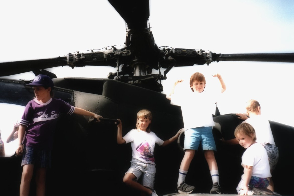 Pat hamming it up with pals - on a Helo