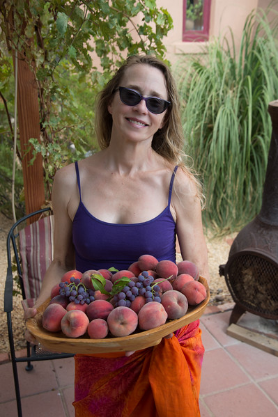 Jenny showing off our harvest.