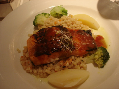 Barbecue salmon with pearl couscous and Moroccan glaze