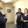 Rufus Gifford who is running for congress talks with Piper Wysock, 17, and her Mom Lisa Wysock at his new office space on Main Street in Fitchburg on Saturday, May 5, 2018. SENTINEL & ENTERPRISE/JOHN LOVE