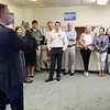 Rufus Gifford who is running for congress talks to a small crowd that gathered at his new office space on Main Street in Fitchburg on Saturday, May 5, 2018. SENTINEL & ENTERPRISE/JOHN LOVE