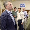 Rufus Gifford who is running for congress talks with State Representative Stephan Hay at his new office space on Main Street in Fitchburg on Saturday, May 5, 2018. SENTINEL & ENTERPRISE/JOHN LOVE