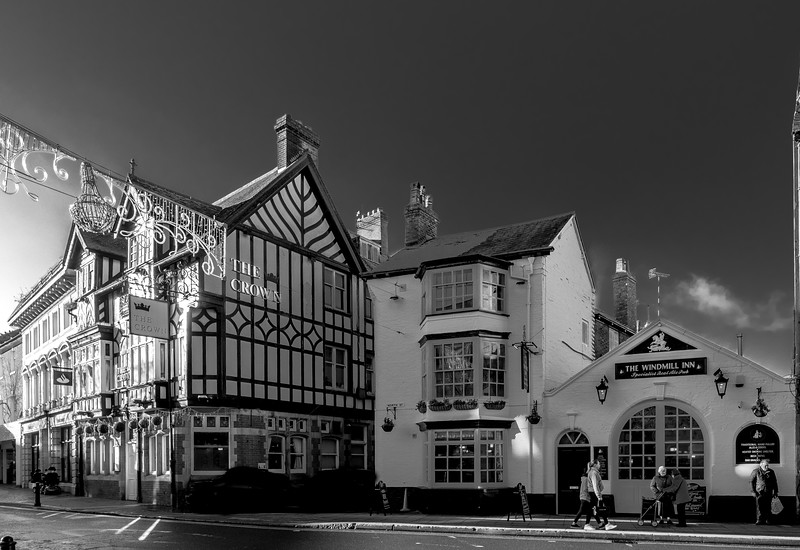 The Windmill inn and the Crown, Market Square, Rugby