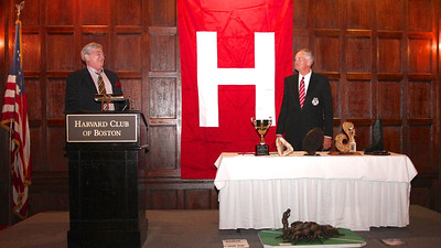 "2013_10-05 Rugby HBS 50 Sat Din Harvard Club II - Steve Watson, Mike Rush (HBSOB President) ""Thank you Mike"" 9947"