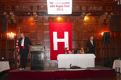 2013_10-05 Rugby HBS 50 Sat Din Harvard Club II - Chuck Hill and Mike Rush (HBSOB President) wondering when the speech will end 9955