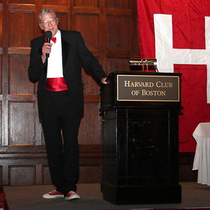 """2013_10-05 Rugby HBS 50 Sat Din Harvard Club II - Chuck Hill at the Podium """"They are Tearing Down the Bar at the Harvard Busines School"""" 9960"""