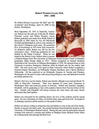 Rugby - HBSOBRFC - Dr Bob Leyen - His Life