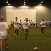 Familiar faces and new faces running sprints at the Axemen's training camp.