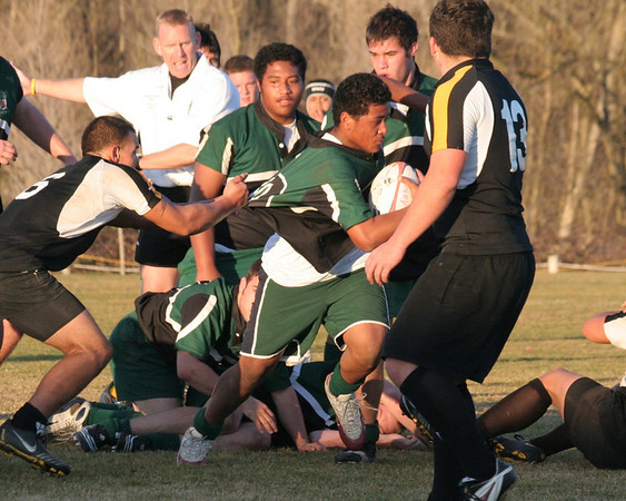 (John) Wayne Mausia picks the ball and drives for the Try line in traffic to score against Rio Linda in the Kick off tournament championship game on Saturday Feb 7, 2009.