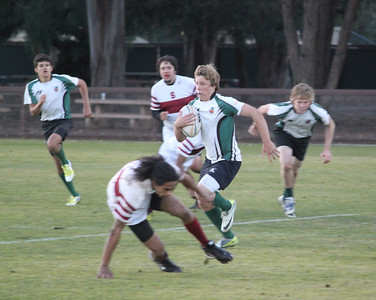 2013_01-12 Rugby PenGrn Varsity vs Stanford Univ JV - Steve Bodley taking the ball up field with Alex Everett and Liam Cotter in support 01-13-13