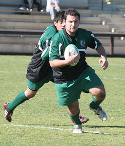 Derek Thompson (Peninsula Green Rugby Alumni) taking the ball up field against the Stanford U19 team on Feb 9, 2008.
