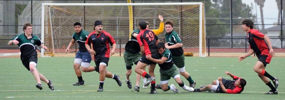 2011 - Pen Green vs Diablo - Colin Palmquist putting the opposing flyhalf to the ground with a driving tackle.  Tyler Hutcherson assists in the tackle and John Warnock is following up.  Alex Smith and Leepo Satale are ready to go on the attack.
