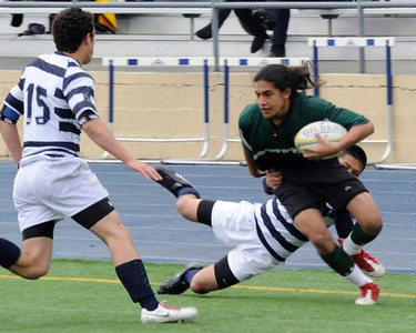 2011 - Pen Green vs Bellarmine -  Fisi Tavake running through a tackle on the way to a score.
