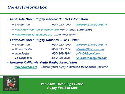 Rugby - Peninsula Green HS Rugby Club - Contact Information