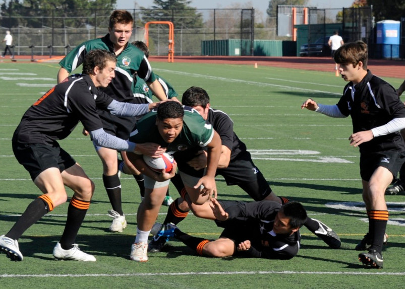 2012 Peninsula Green Rugby vs Los Gatos Lions 01-14-12: George Fifita runs up field through multiple Los Gatos defenders on his way to a try (Clsup).  John (Rambo) Warnock is in support. (004)