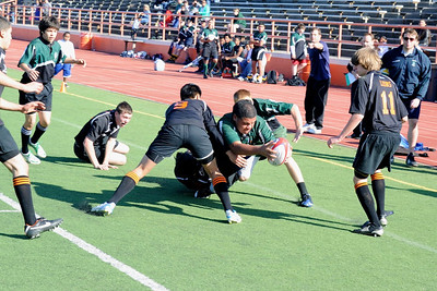 2012 Peninsula Green Rugby vs Los Gatos Lions 01-14-12: Sam Vaimau is about to touch the ball down for a try. (011)