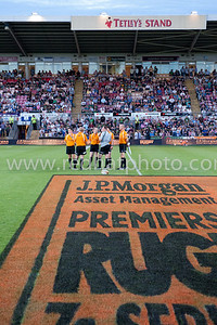 A referees' half time huddle