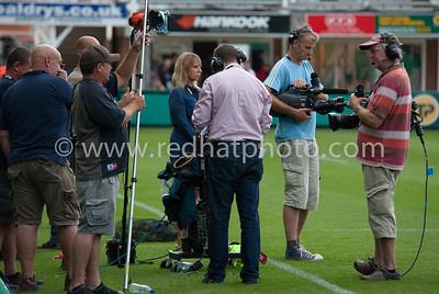 The BT Sport pitchside team wait...