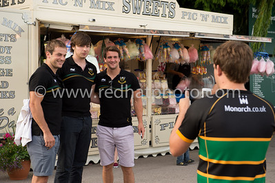 Stephen Myler and Lee Dickson meet the supporters in the village