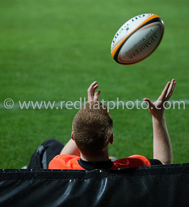 A ball boy waits for play to arrive