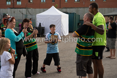 A Saints supporter gets that all important photo with Courtney Lawes