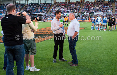 The Saints media team grab a pic of Craig Doyle interviewing Dusty Hare