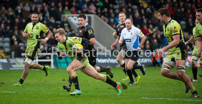Newcastle Falcons vs Northampton Saints, Aviva Premiership, Kingston Park, 23 February 2014