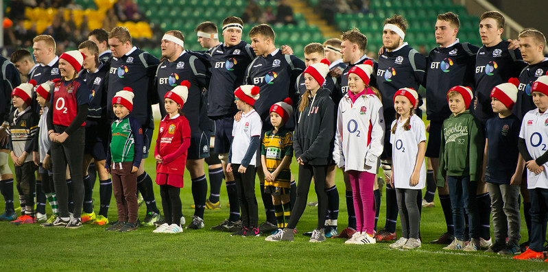 Mascots at the England U20s vs Scotland U20s game, Franklin's Gardens, 11 March 2017