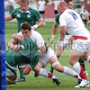 England Saxons flanker wrapping up a Irish A player near the try line, 2009 Churchill Cup.  Ireland won the match and the Tournament.