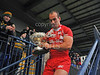 28.10.2012. Meggetland, Edinburgh. Rugby League, Scotland v England Knights in the Alitalia Rugby League European Cup. England captain Danny Houghton with the trophy