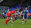28.10.2012. Meggetland, Edinburgh. Rugby League, Scotland v England Knights in the Alitalia Rugby League European Cup. Scotland player receives a kick under pressure