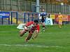 28.10.2012. Meggetland, Edinburgh. Rugby League, Scotland v England Knights in the Alitalia Rugby League European Cup. Englands Kieran Dixon dives to score a second half try