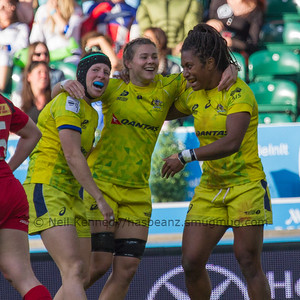 Celebrations with Gemma Etheridge and Nicole Beck after Ellia Green scores a last minute match winning try for the cup against Canada