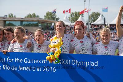 England celebrate qualifying Team GB for Rio de Janeiro Olympics in 2016.  Left to right: Katy Mclean, Abi Chamberlain, Marlie Packer, Emily Scarratt, Jo Watmore, Rachael Burford