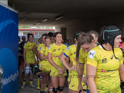 The Australian girls waiting to take to the field