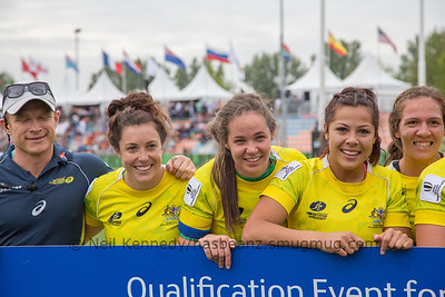 Qualifiers for Rio Olympics, left to right Tim Walsh (coach) Emilee Cherry, Chloe Dalton, Tiana Penitani, Evania Pelite