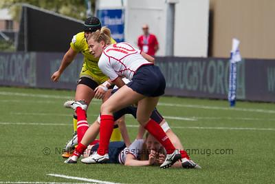 Anna Gavrilyuk retieves the ball from the breakdown