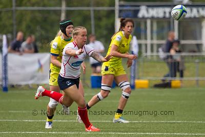 Ekaterina Bankerova passes the ball