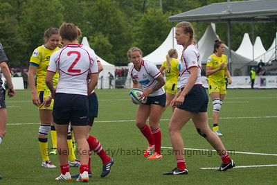 Ekaterina Bankerova with the ball waits for the scrum