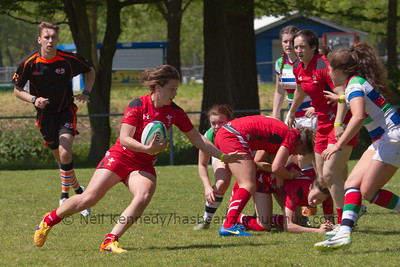 Sioned Harries turns from the breakdown to head up the field