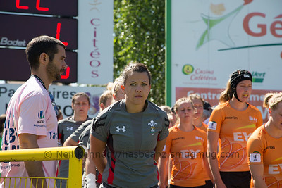 Sian Williams waits to lead Wales out against Netherlands
