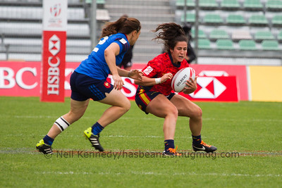 2015/16 HSBC World Rugby Women's Sevens Series - Clermont-Ferrand, Plate Semi Finals, Match 26 France 7s 17 - 0 Spain 7s Stade Gabriel Montpied, Clermont-Ferrand, France, 29th May 2016