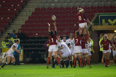 Laura Russell reaches up for the lineout ball
